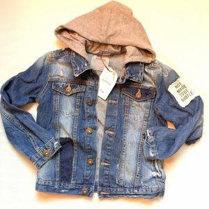 NWT Zara Boys distressed denim jacket size 8